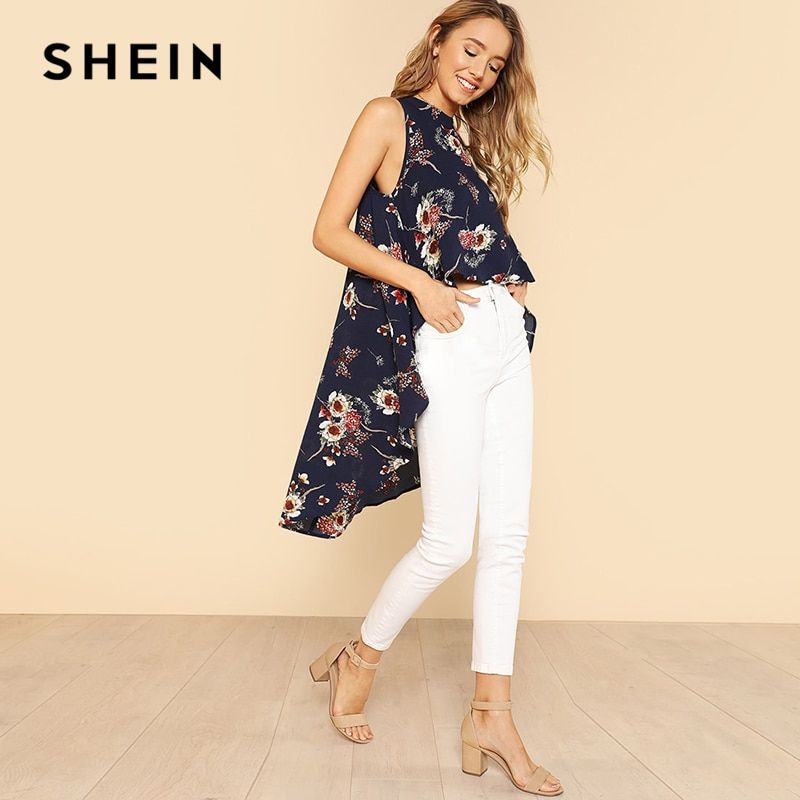 SHEIN Flower Print High Low Sleeveless Top Multicolor 2018 Summer Elegant Blouse Women Round Neck Sleeveless Vacation Blouse