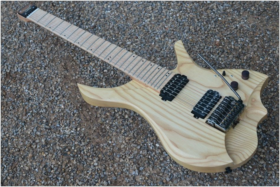 7 Strings Headless Electric Guitar style wood color Flame maple Neck in stock free shipping
