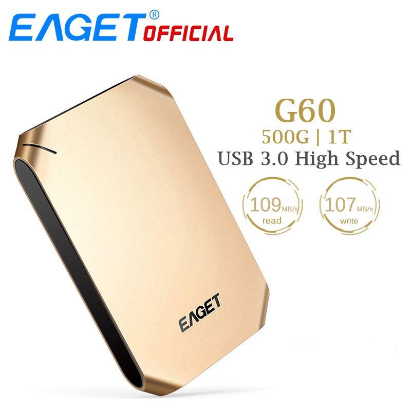 Eaget внешний жесткий диск 500 ГБ 1 т HDD USB 3.0 жесткий диск высокого Скорость противоударный Шифрование Mobile HDD рабочего стола ноутбук Планшеты