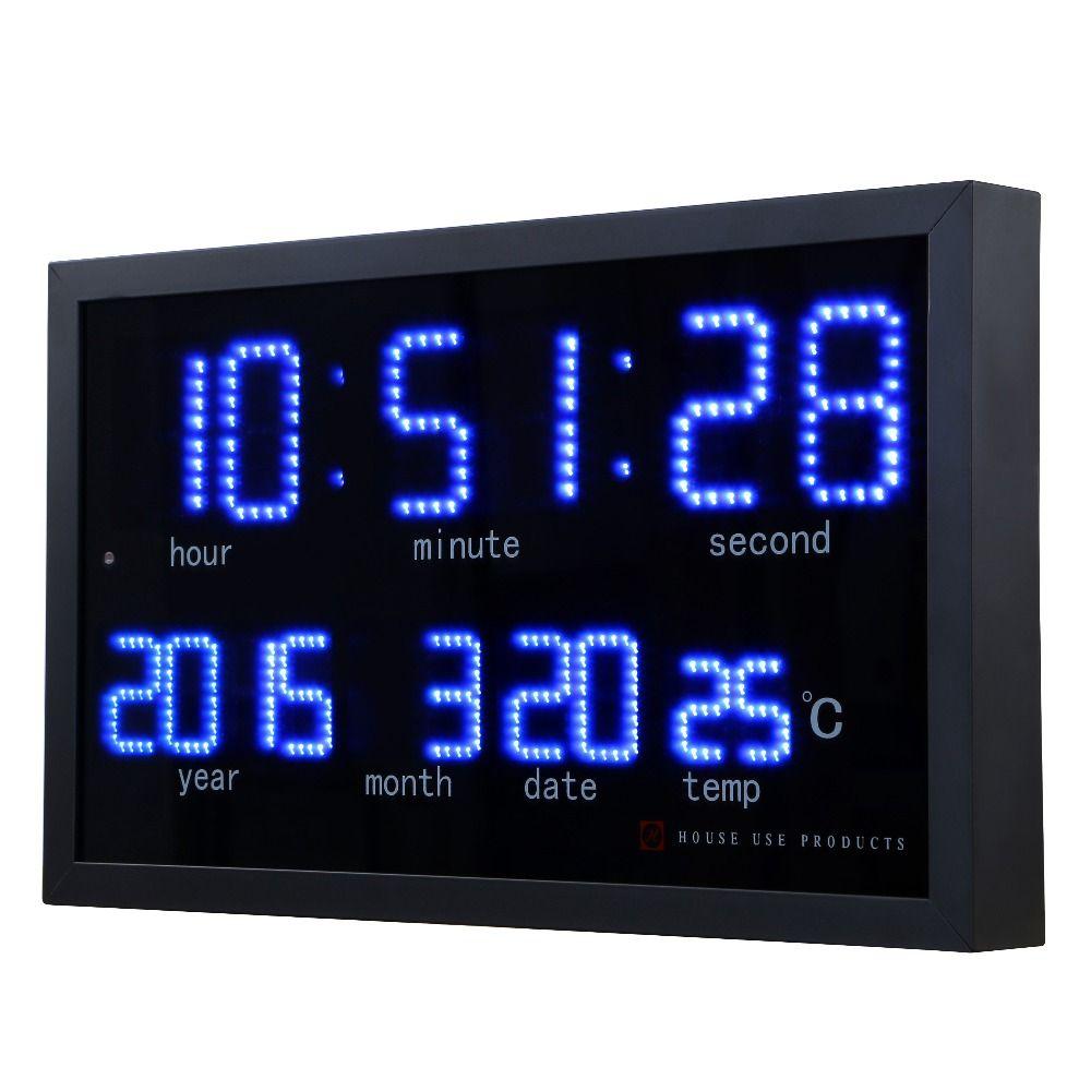 Матричный светодиодный цифровой большие настенные часы Гостиная Современные украшения электронный светодиодный Календарь Часы домой тер...
