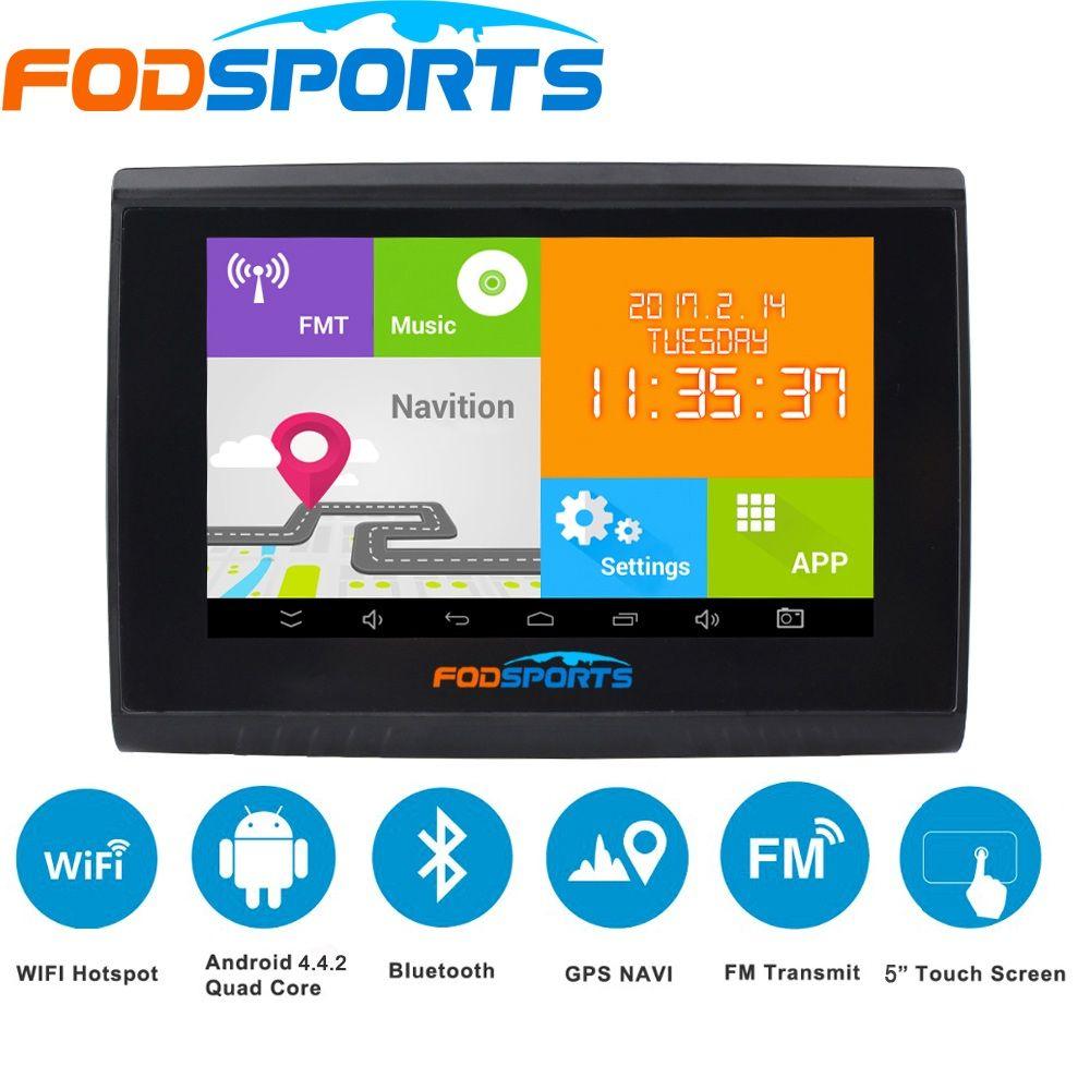 Новинка 2017 года fodsports Android GPS навигатор 5.0 дюймов WI-FI 512 М Оперативная память 8 ГБ flash mtk8127 Водонепроницаемый IPX5 мотоциклов и автомобилей GPS нави...