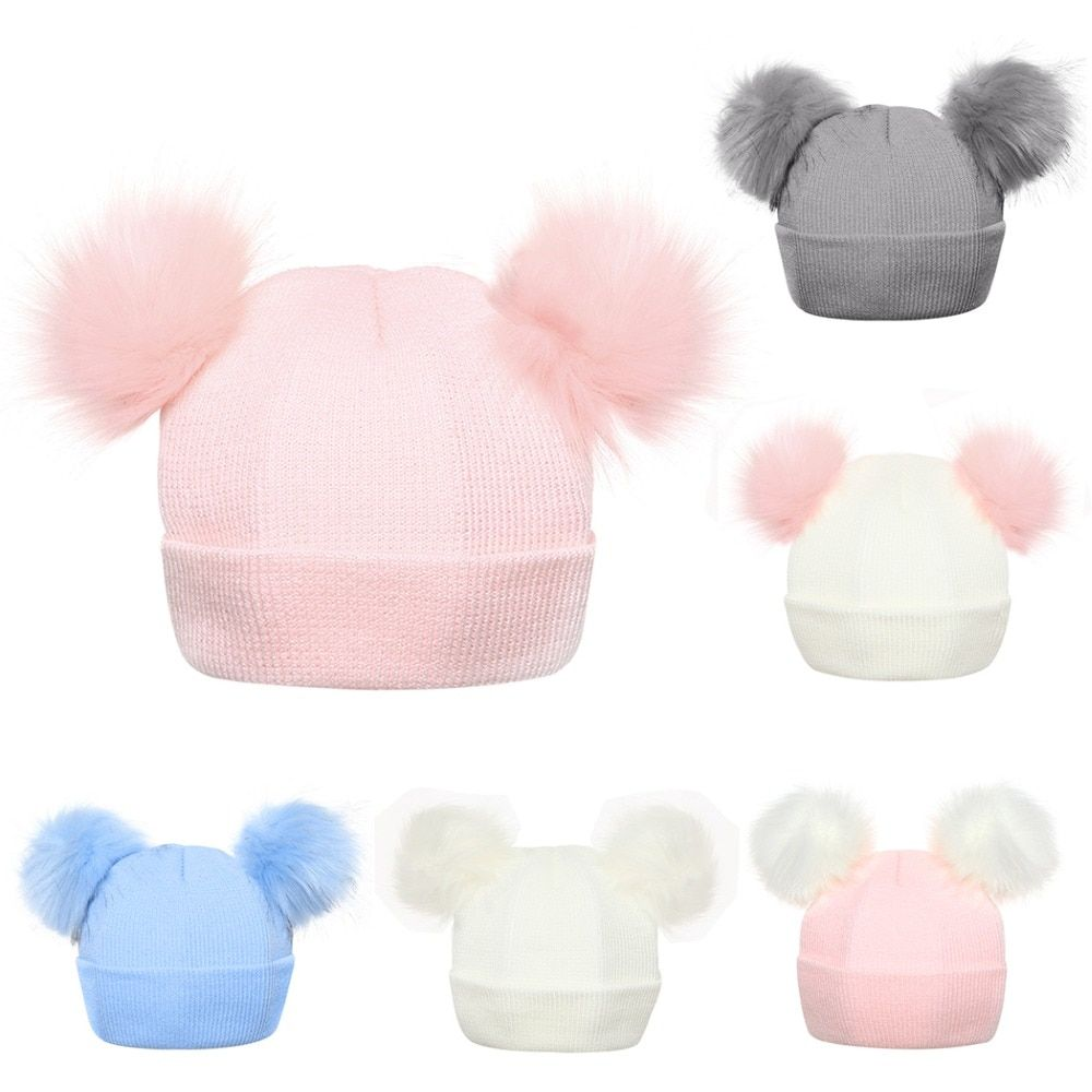 Winter Knitted Baby Hats 2018 Girls Boys Sweet Solid Hat With Two Fur Pompoms Balls Kids Caps For Baby Girls Warm Soft Hat Cap