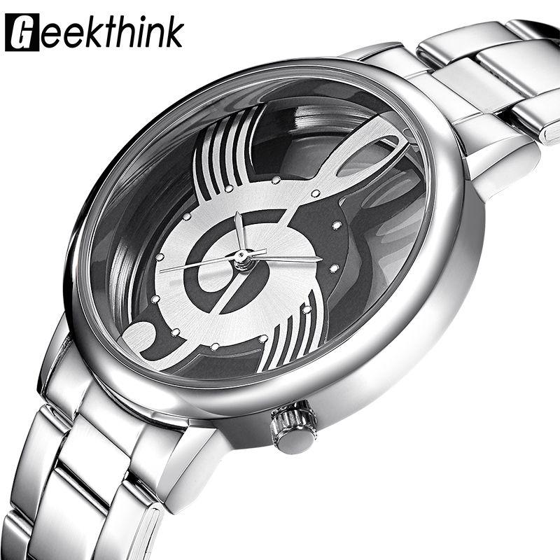 GEEKTHINK Creux Quartz Femmes Marque De Luxe Or Ladies Designer Casual acier Inoxydable Montre-Bracelet Horloge Femelle Filles Cadeau