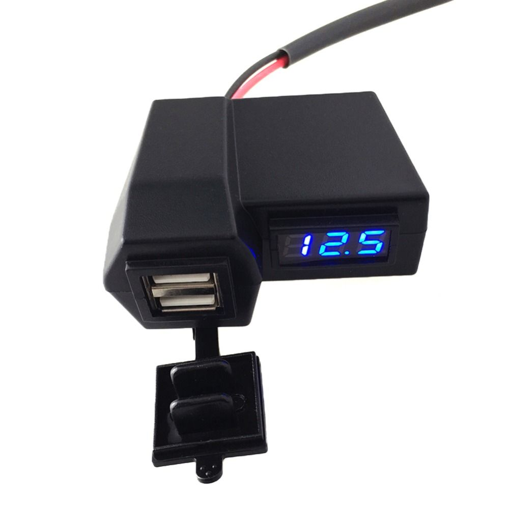 3.1A Car Motorcycle Voltmeter Thermometer Digital LED Auto Car USB Charger Temperature Meter Voltmeter High Quality  ATV Parts