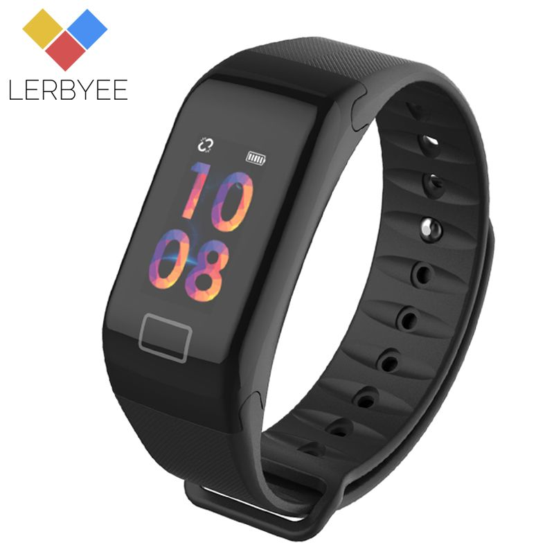Lerbyee Color Screen F1S Fitness Tracker Blood Pressure Smart Bracelet Sleep Monitor Call Reminder Men Watch for iPhone 7 Huawei