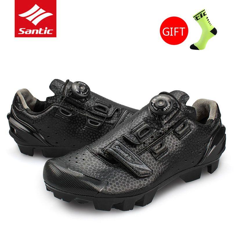 Heißer Santic Atmungsaktive MTB Fahrrad Lock-Schuhe Männer Professionelle Athletisch Radfahren Schuhe Selbst Sperre Fahrrad Turnschuhe Zapatillas Ciclismo