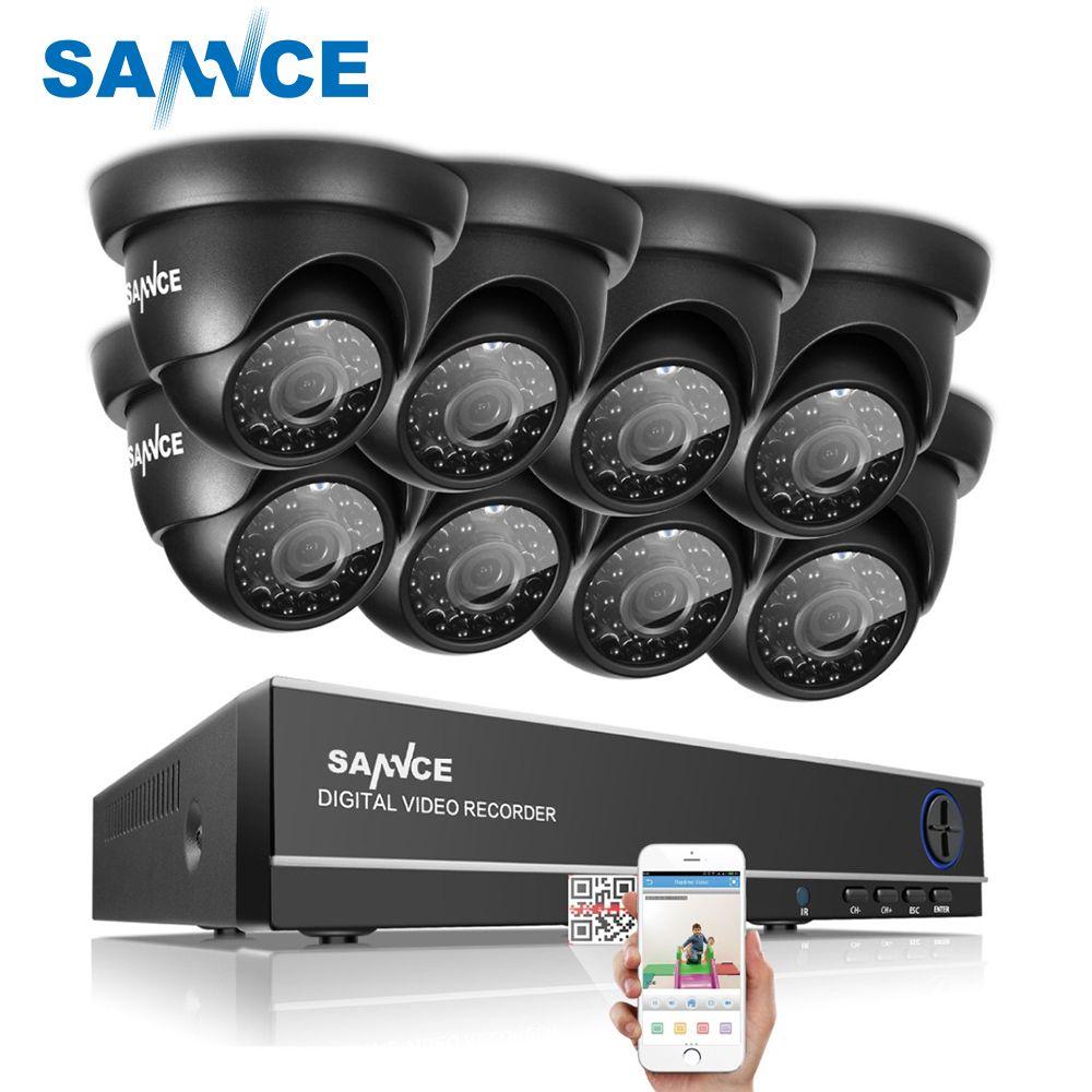SANNCE 8CH 1080N DVR 1080P HDMI NVR CCTV System 8pcs 720P TVI Security Cameras IR Indoor Outdoor CCTV Video Surveillance Kit