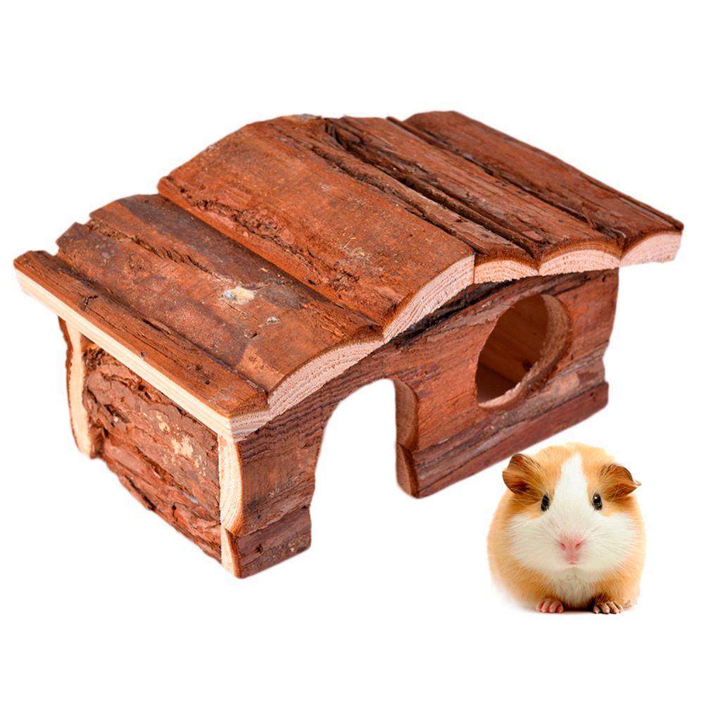 Naturel Hamster maison Fournitures Pentroof Maison En Bois Jouet Villa pour les petits animaux écureuil lapin chinchillas Guinée cage de porc fournir