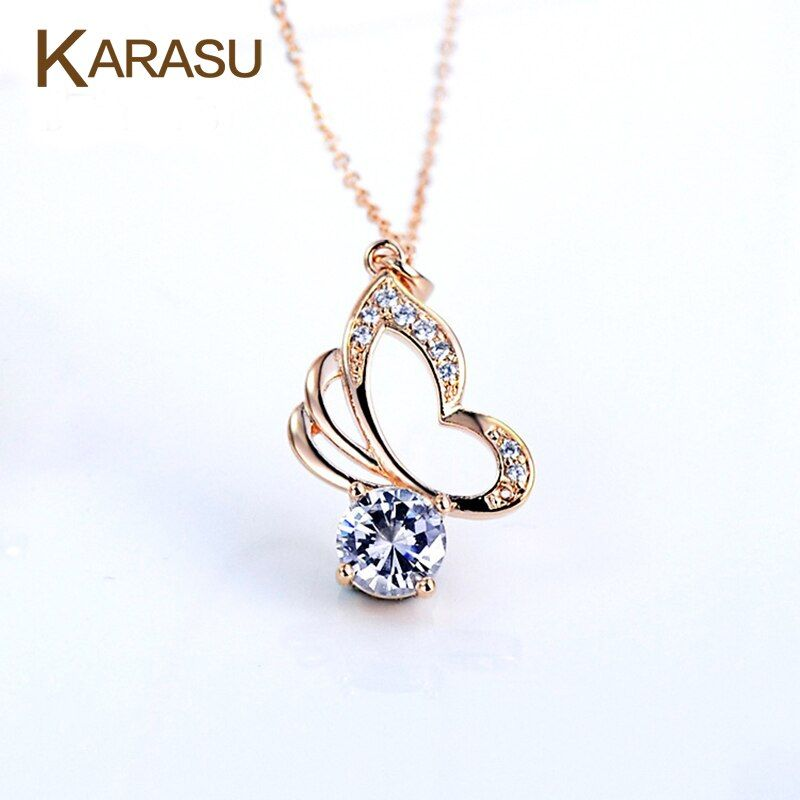 KARASU Rose Gold-color Flying Butterfly Shape AAA+ Round 8mm Cubic Zirconia Animal Link Chain Necklace for Women Fashion Jewelry