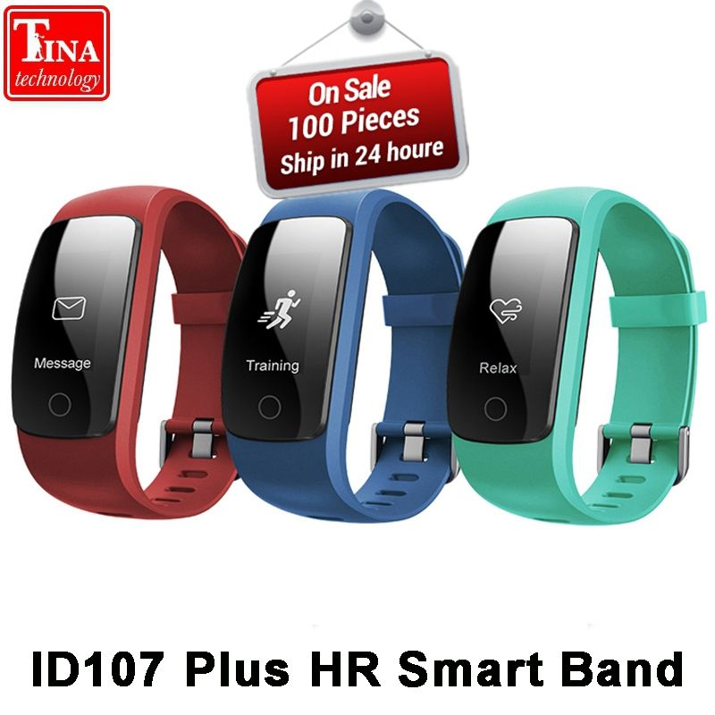 Orginal ID107Plus HR Smart Heart Rate Bracelet Monitor ID107 Plus Wristband <font><b>Health</b></font> Fitness Tracking For Android iOS Vs MI Band