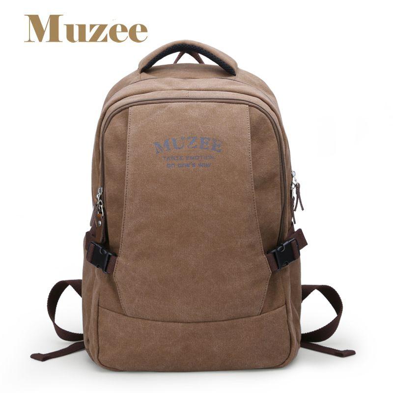 Muzee canvas backpack vintage canvas laptop men's backpack school bag rucksack daypack ME0568