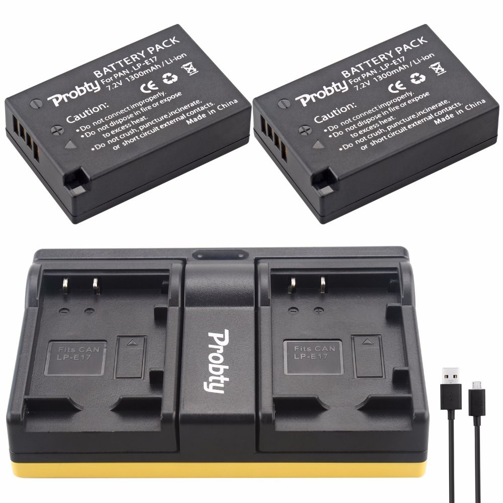 Probty LP-E17 LP E17 Battery + USB Dual Charger for Canon EOS M3 M5 M6 Rebel T6i T6s T7i 750D 760D 8000D 77D Kiss X8i Camera
