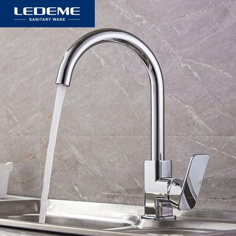 LEDEME Chrome New Kitchen Faucet Sink Mixer Tap Swivel Spout Faucet Classic Swivel Copper Single Hole Kitchen Faucets taps
