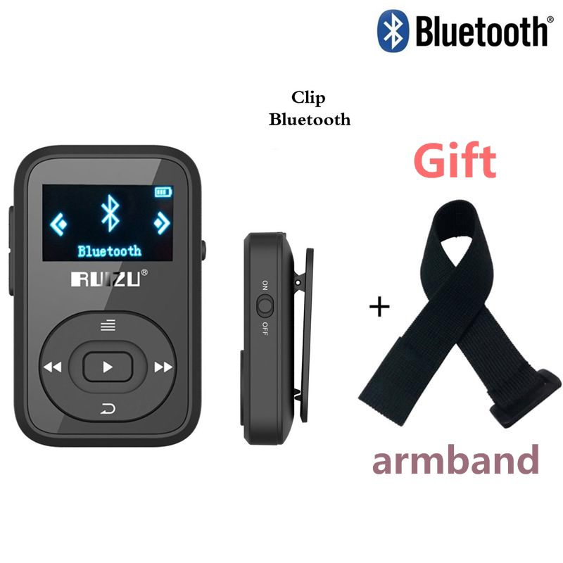 Mini Original RUIZU X26 Clip Bluetooth MP3 player 8GB Sport mp3 <font><b>music</b></font> player Recorder FM Radio Support TF Card +Free Armband