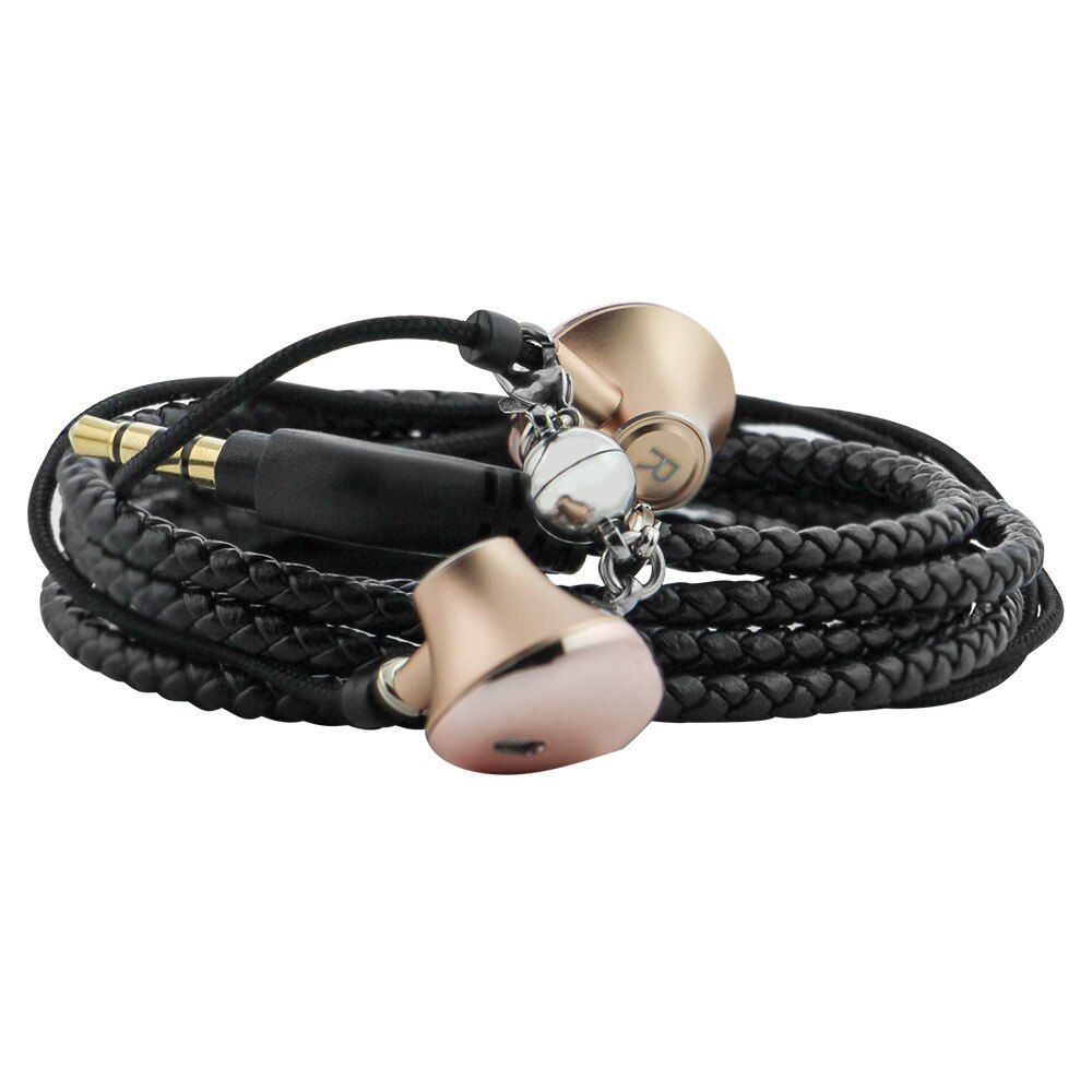 URIZONS wire wearable PU braided rope bracelet bass earphones for iphone android MP3 Media Player