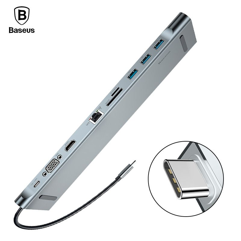 Baseus USB C HUB Alle in Einem Typ C zu HDMI VGA RJ45 SD/TF Kartenleser Audio Konverter USB Splitter Für Macbook Pro USB-C 3,0 HUB