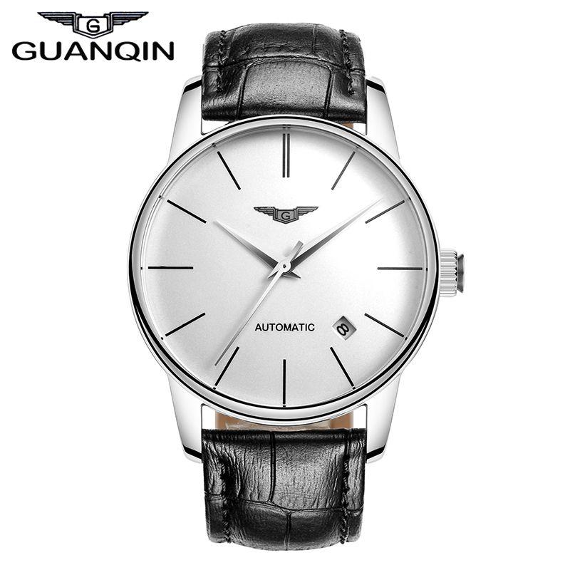 Qualité GUANQIN montres hommes Top marque de luxe automatique montre mécanique Hardlex étanche montres en cuir hommes montres