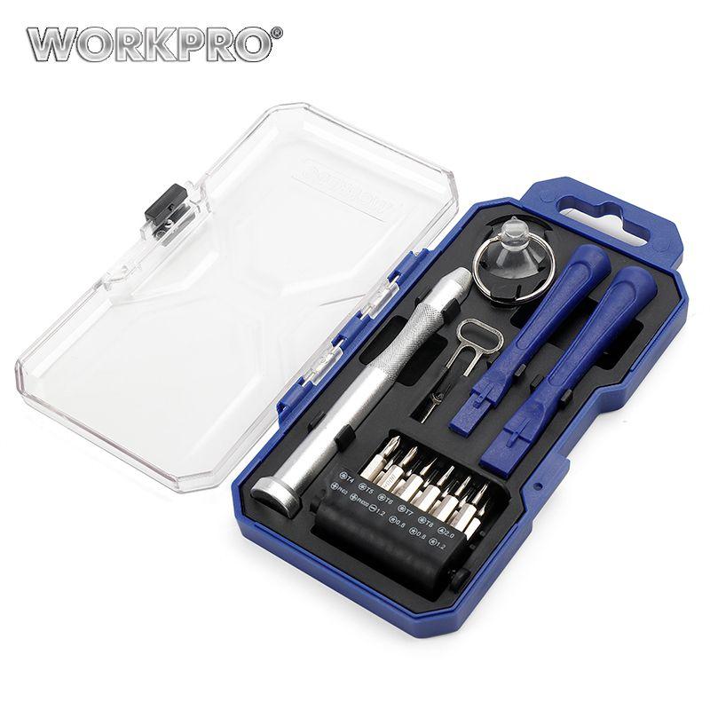 WORKPRO 18PC tournevis pour iphone ipad Kits d'outils de réparation de téléphone intelligent fendu Phillips Triangle embouts ensemble ventouses