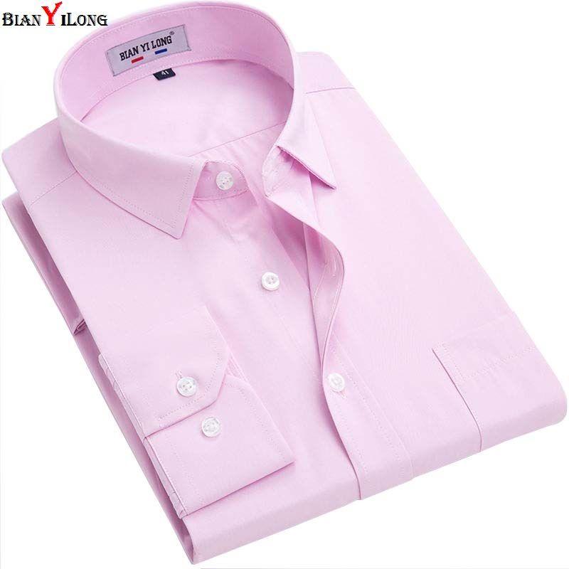 BIANYILONG Brand Long Sleeve Shirt Men Autumn Pink/white/black High Quality Solid Shirt Non Iron Slim Fit Business Shirts Formal