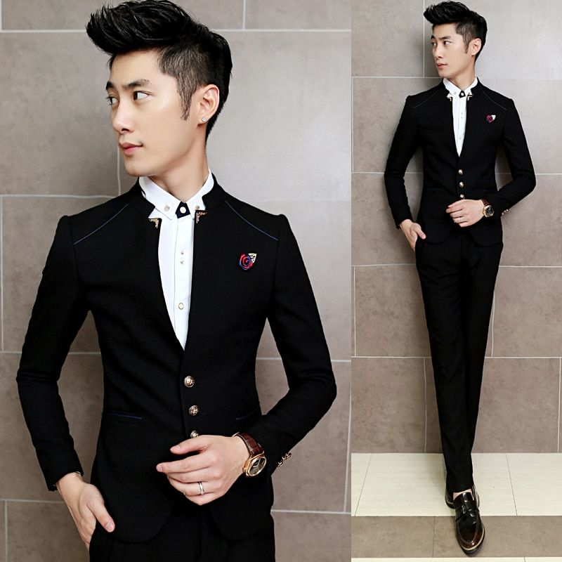 2018 New Men's Suits Jackets + Pants S M XL 2XL 3XL Navy Blue Red Business Wedding Banquet Gentleman Slim Elegance Clothing