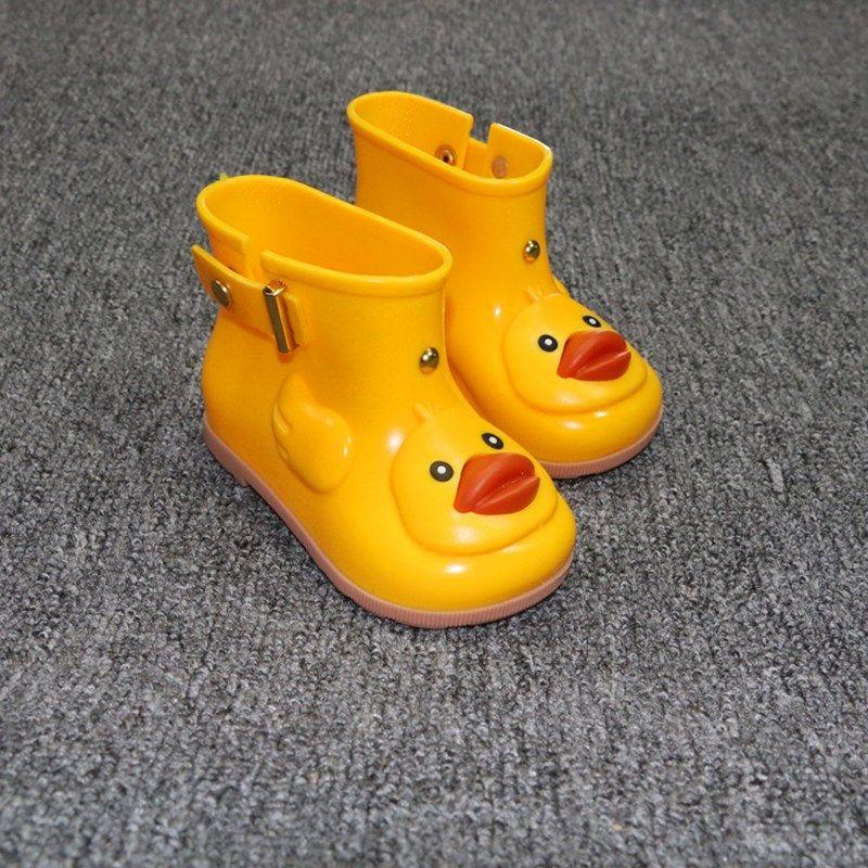Enfants mignon canard bottes de pluie garçons et filles dessin animé bottes en caoutchouc chaussures de gelée chaussures imperméables pour enfants couleur bonbon bottes de pluie antidérapantes