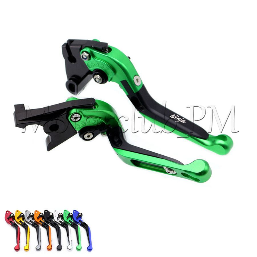 For Kawasaki ZX7R / ZX7RR ZX9 ZZR1200 ZRX1100 / 1200 CNC Extendable Foldable Brake Clutch Lever Green