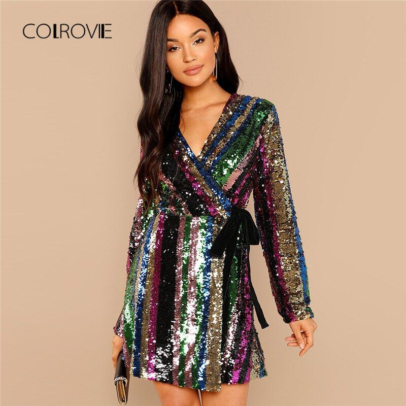 COLROVIE Color Block Wrap Sequin Sexy Dress Women 2018 Autumn Long Sleeve Club Party Dress Streetwear Elegant Mini Dresses