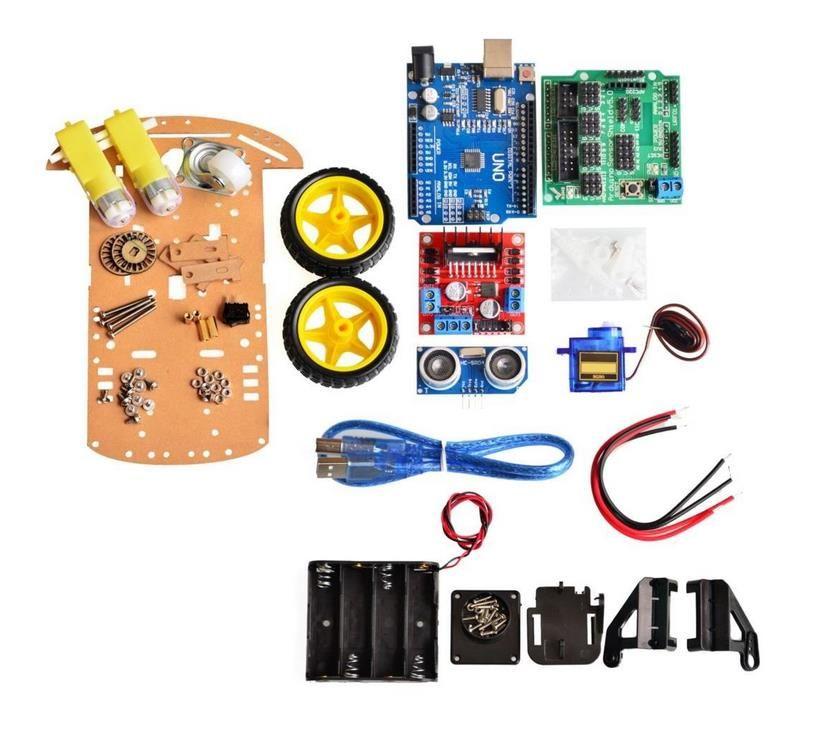 Nouvelle Évasion de suivi Moteur Intelligent Robot Châssis Kit de Voiture Speed Encoder Battery Box 2WD Ultrasons module Pour Arduino kit