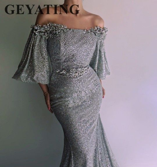 Sparkling Silver Sequined Mermaid Evening Dress with Puffy Sleeves Off the Shoulder Arabic Prom Dresses Dubai Party Formal Gowns