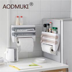 Soporte colgante de plástico para refrigerador que se aferra película de corte estante de almacenamiento cortador de envoltorio para pared salsa botella de cocina organizador de toalla