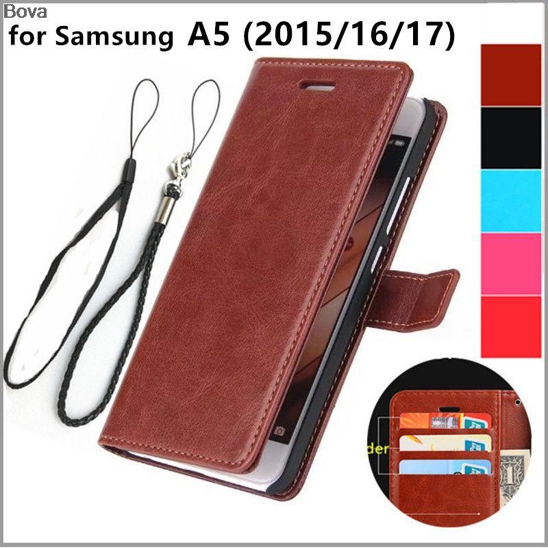 Couverture de porte-cartes pour Samsung Galaxy A5 2015 A5000 2016 A510F 2017 A520F Pu en cuir téléphone cas ultra mince portefeuille flip couverture