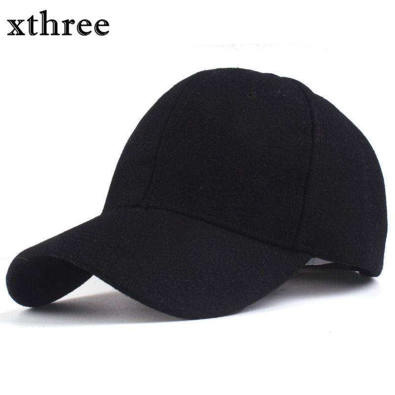 Xthree solid men's wool baseball cap winter cap warm bone snapback hat gorras fitted hats for women