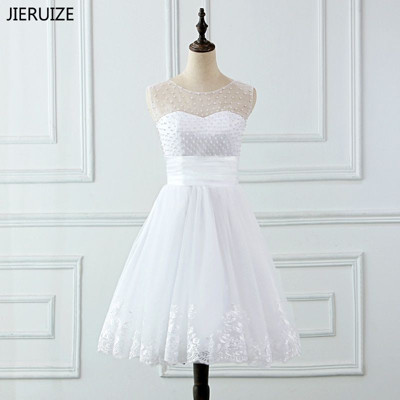 JIERUIZE vestidos de novia Lace Appliques Pearls Short Wedding Dresses Lace Up Back Cheap Wedding Gowns robe de mariee