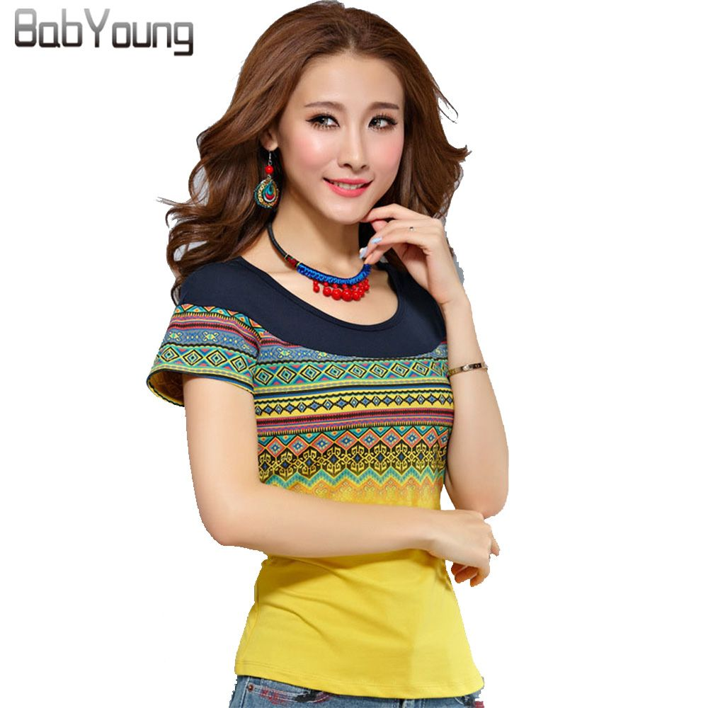 BabYoung 2019 été Style coton T-shirts Femme femmes T-shirts contraste t-shirt bohême haut pour Femme jaune blanc grande taille 4XL