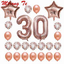 24 unids/set 16 21 30 40 50 60th Feliz cumpleaños Rosa estrella de oro confeti 40 inch número globo cumpleaños decoración del partido suministros