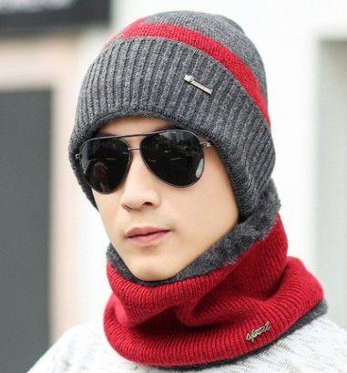 Fur Lining Thick Warm Beanie  Scarf  Women Men Knit Winter Hat Mask Cap Scarf Set Skullies Bonnet Scarf Homme Gorro Neck Warme