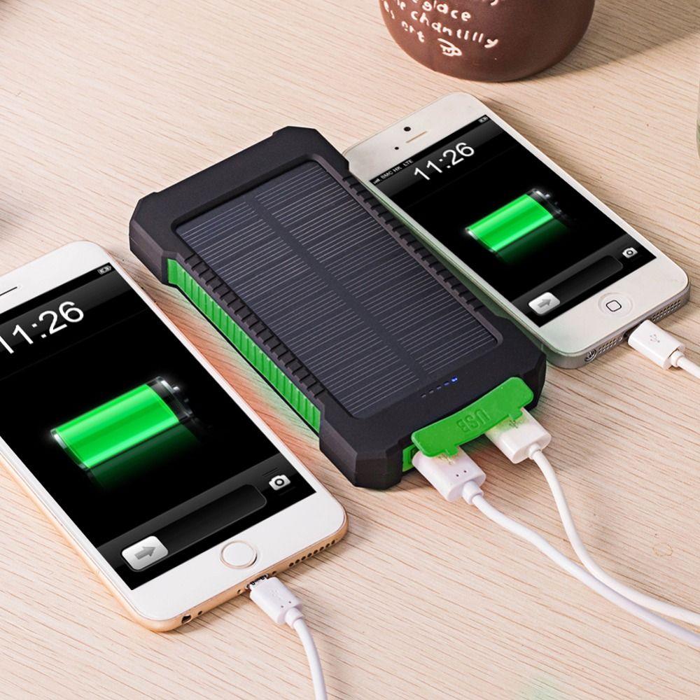 Top vente batterie portable solaire étanche 20000 mAh chargeur solaire 2 Ports USB chargeur de batterie externe téléphone appauvrbank avec lumière LED