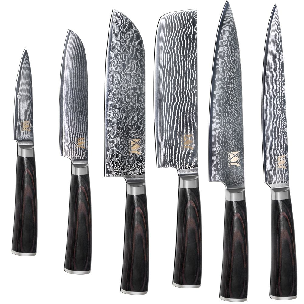 100% Brand New Damascus Kitchen Knife 6 Piece Set VG10 Damascus Steel Blade Double Steel Head High Grade Cooking Tools Best Gift