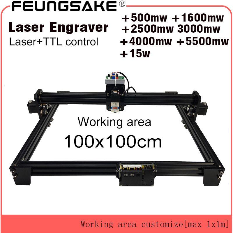 15 watt laser schneiden maschine TTL PMW control 1*1 mt großen bereich 5500 mw DIY laser gravur maschine, 2,5 watt laser carving maschine cnc router