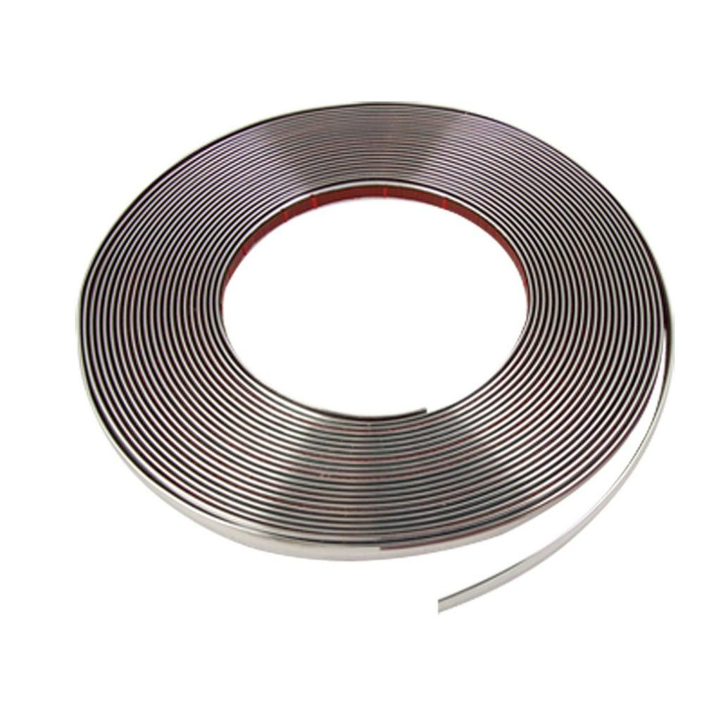 TOYL 8mm x 15M Silver Tone Soft Chrome Moulding Trim Strip Car Decors