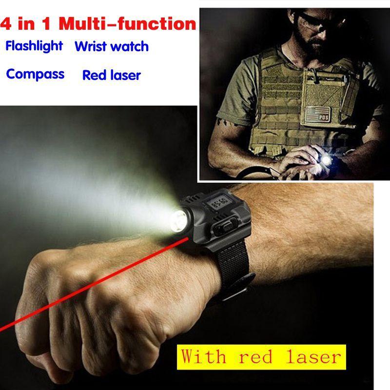 Multifonctionnel étanche sport USB De Charge led montre-Bracelet torche avec rouge laser Rechargeable éclairage Tactique lampe de Poche