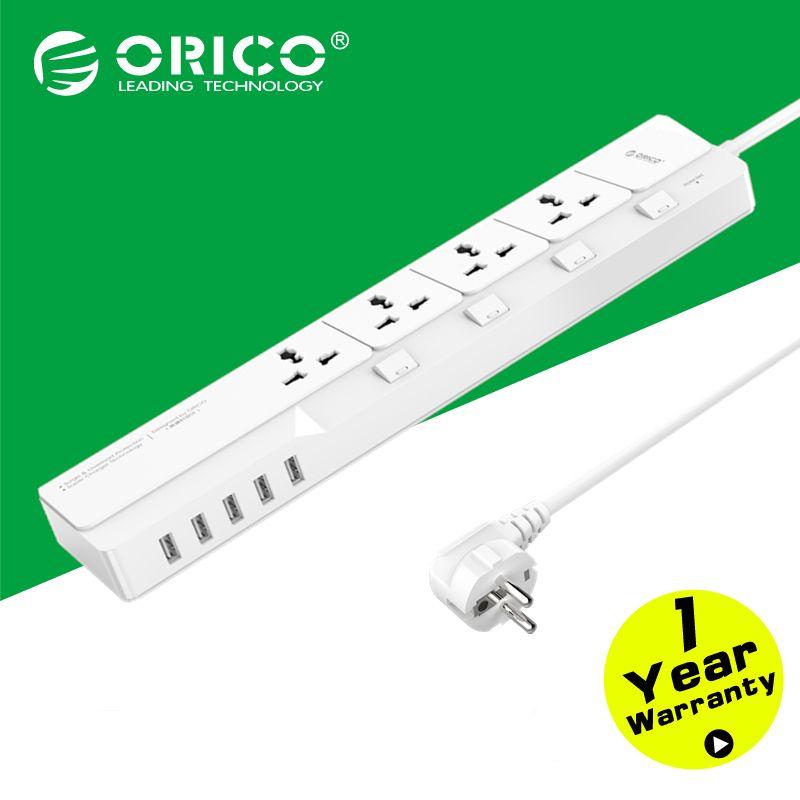 ORICO osj-4a5u Офис ЕС Стабилизатор напряжения с 5 USB Зарядное устройство 4 Универсальный AC Plug многорозеточный путешествия Удлинители-белый