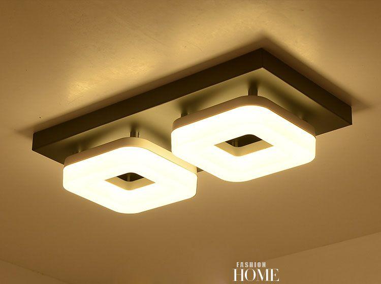 Moderno PVC LED Ronda luz de Techo de Acero Inoxidable/Square Lustre Luminarias Párr Sala pasillo pasillo balcón lámparas para el hogar
