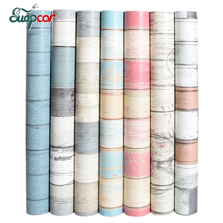 Vintage vinyle en bois décoratif Stickers muraux cuisine dortoir chambre papier peint étanche PVC auto-adhésif papier peint Mural