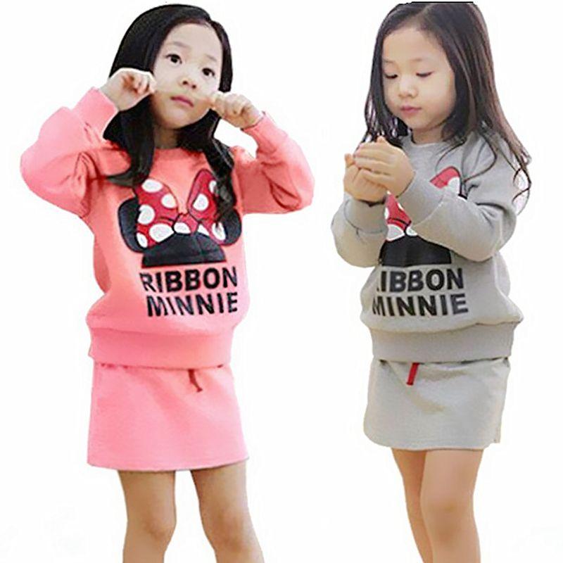2018 ropa del bebé fijada Otoño ropa Niñas Minnie arco falda traje niños traje traje trajes de falda de los niños al por mayor
