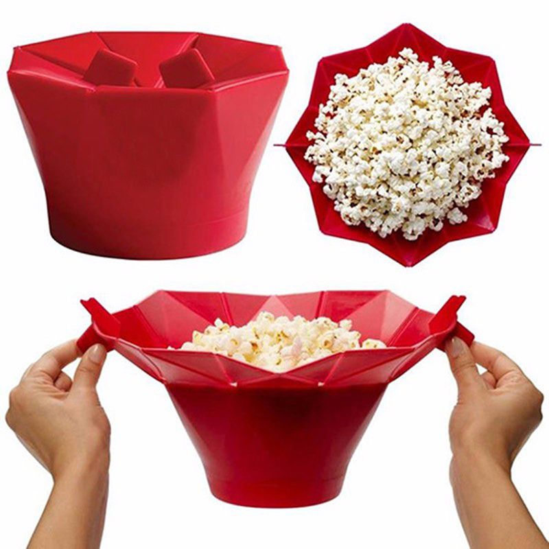 silicone popcorn box Maker storage container Foldable microwave pop corn box bucket puffed rice food bowl kitchen accessories