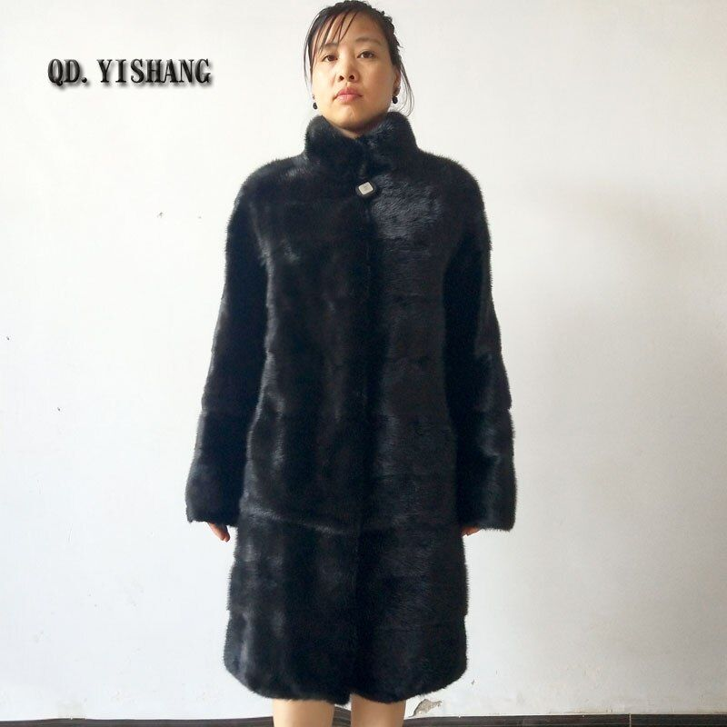 Natural mink fur coat with fur collar for lady Long sleeve Off-season special promotion Factory direct sales Can be customized