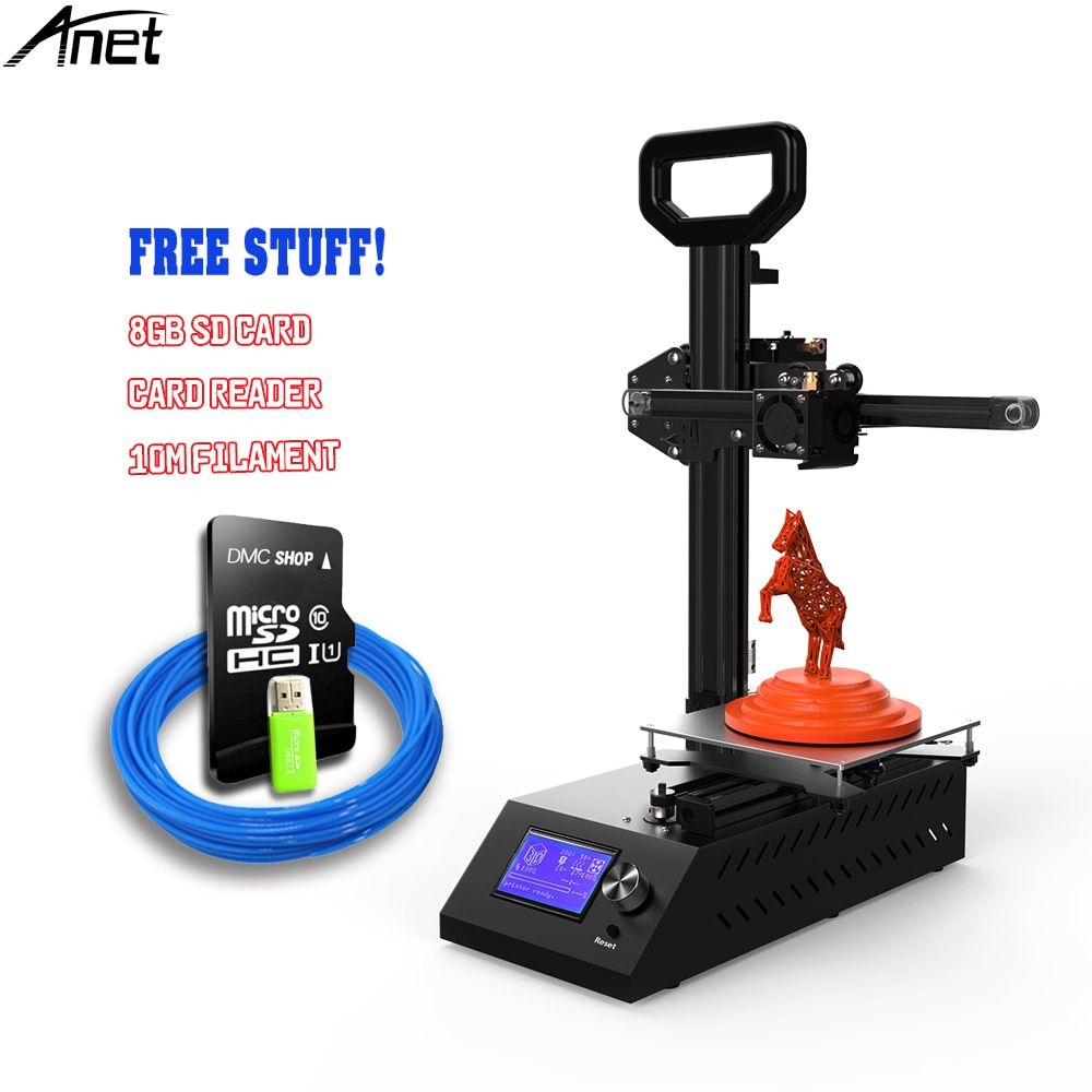 Anet A9 3D Printer Easy Assemble with Metal Plate+ Aluminum Frame High Precision Imprimante 3D DIY Kit with PLA/ABS filament