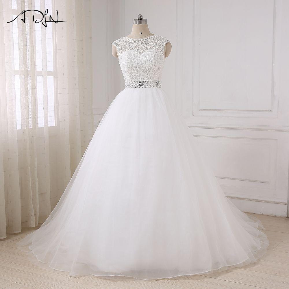 Adln в наличии Дешевые Свадебное платье принцессы Кепки рукавом из бисера Пояса блестками свадебные платья с бантом на спине
