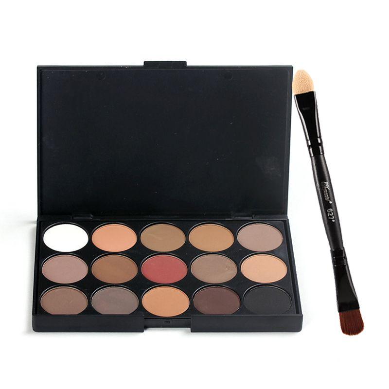15 couleurs Maquillage Fard À Paupières + Double-headed Eye Shadow Brush Et Bâton de Fard À Paupières Kit Mat Pigment Glitter Fard À Paupières palette